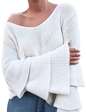 [Patrocinado]Suéter Jerseys De Punto Mujeres Puntadas Manga Larga Suéter de Punto de Manga Larga para Mujer Jersey Suelto Jumper...