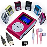 Mini reproductor MP3 Rosa con FM + Auriculares + Cable Mini USB + Tarjeta Micro SD 8GB