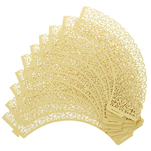 Price comparison product image SODIAL(R)100 pcs Filigree Vintage Cupcake Wrappers Wraps Cases - Wedding, Birthday, UK seller(Golden)