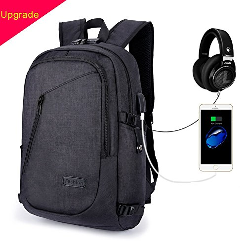Zaino per laptop-Socket di ricarica USB [multi-funzione] Unico anti-furto durevole impermeabile per Business School Bag Suit per zaino da 15,6 pollici per laptop (nero)