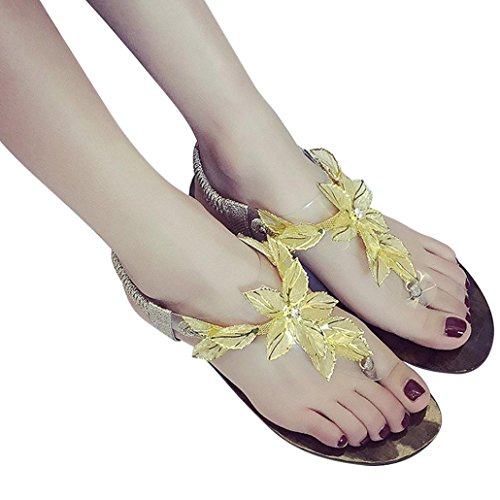 Transer® Damen Flach Sandalen Blume T-Gurt Toepost Elastischer Kunstleder+Gummi Gold Silber Sandalen (Bitte achten Sie auf die Größentabelle. Bitte eine Nummer größer bestellen) Gold