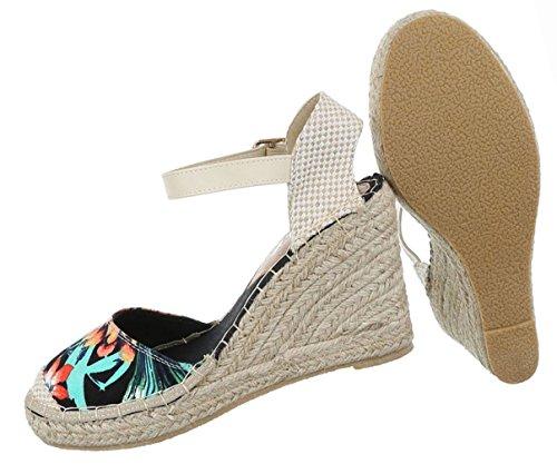 Damen Schuhe Sandaletten Keil Wedge High Heels Stiletto Schwarz Multi Schwarz