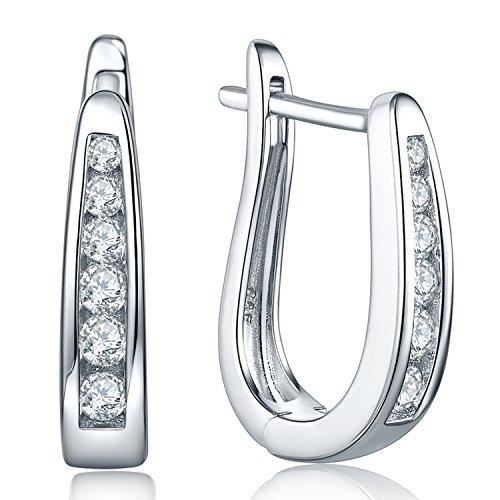 JO WISDOM creolen ohrringe hängende Ovale silber 925 damen mit AAA zirkonia - Oval Silber Ohrringe