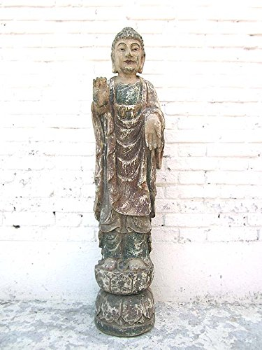 Chine grande sculpture bouddha debout bemaltes peuplier luxury park 60 ans