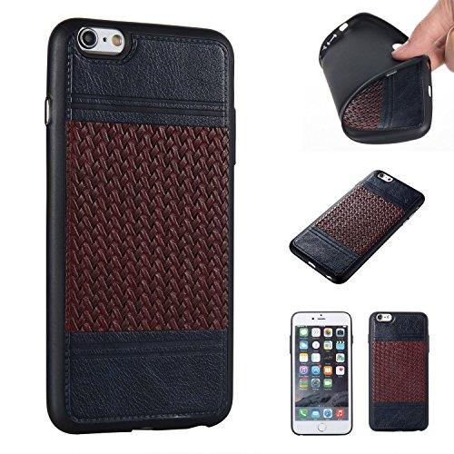 Pour Apple iPhone 6s Plus(5.5 Zoll ) Case Cover, Ecoway TPU Conception de texture tissée Housse en silicone Housse de protection Housse pour téléphone portable pour Apple iPhone 6s Plus(5.5 Zoll ) - N Noir + Marron