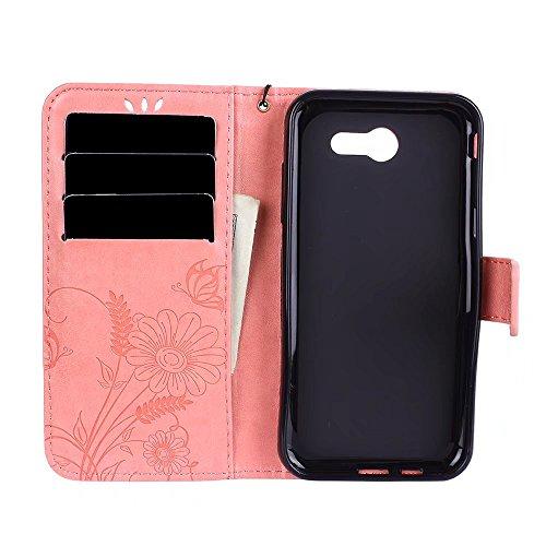Premium PU-Leder Folio Stand Case, Solid Farbe prägeartig Blumen Stil Schutzhülle Tasche Tasche mit Lanyard & Card Slots für Samsung Galaxy J3 Prime ( Color : Rose gold ) Pink