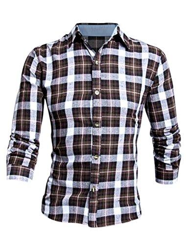 Chemise longues manches encolure pointue pour hommes motif carreaux Dark Brown