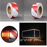 EMOTREE 10Mx 5cm Rot-weiß Markier-Klebeband Reflektorfolie Reflektorband Selbstklebend Warnaufkleber