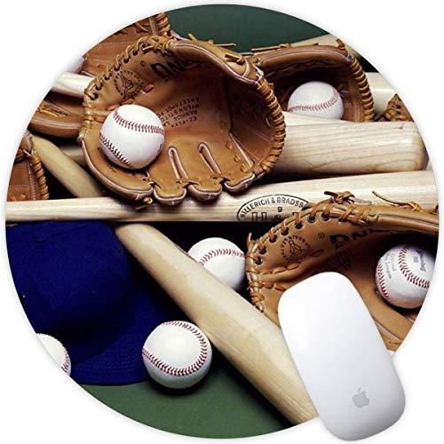 Weneth Runde Mauspad Cooles Gaming Mousepad rutschfest Mausunterlage Gummi Ränder Mauspad für Laptop & Reise-Baseballschläger Ball Mütze und Handschuh