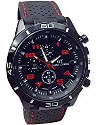 relojes hombre vovotrade Hombres Relojes Militar Deportes Reloj de pulsera de reloj de cuarzo de silicona (rojo)