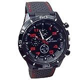Vovotrade® Relojes Hombre Hombres Relojes Militar Deportes Reloj de Pulsera de Reloj de Cuarzo de Silicona (Rojo)
