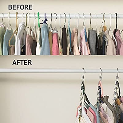 MARCHY Metal Clothes Hangers Clothing Organiser Wardrobe Space Save and organization- 4 Packs - cheap UK light store.