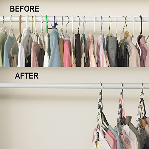 Foto de marchy metal Wonder Magic Ropa Closet perchas Ropa Organizador – 6 paquetes