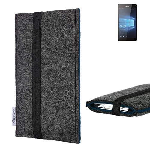 flat.design Handyhülle Lagoa für Microsoft Lumia 950 XL Dual SIM | Farbe: anthrazit/blau | Smartphone-Tasche aus Filz | Handy Schutzhülle| Handytasche Made in Germany