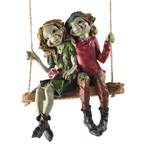 Party Studios Pixie Couple Swing Pendant, Magic Sculpture Mystery garden decoration Figures Elf and Fairy children, Height 12 cm