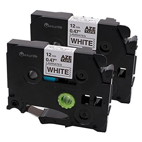 2x Schriftband für Brother TZe-231 TZ 231 TZE231 laminierten, schwarz auf weiß 12mm x 8m Kompatibel mit Brother P-touch PT-1000, PT-P700, PT-1010, GL-H105, PT-H100LB, PT-1080, PTE-550WVP, PT-D400