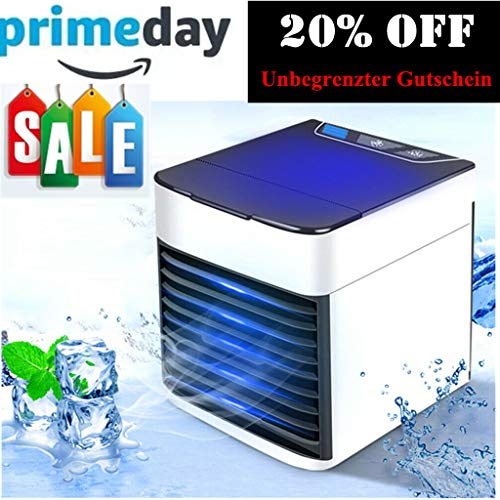 Air Cooler Mini, Persönliche Luftkühler Mobile klimageräte Luftkühler Luftbefeuchter und Luftreiniger 3 IN 1 USB 7 Farben LED Licht für Auto/Zuhause/Büro