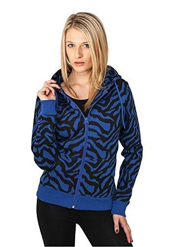 Urban Classics Damen Oberteile / Zip Hoodie Zebra blau S (Sweatshirt Hoodie Zebra)