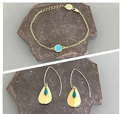 Parure boucles d'oreilles et bracelet or et turquoise, bijoux turquoises, bijoux dorés, parure bijoux femme, idée cadeau, acier inoxydable