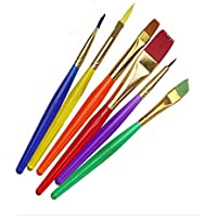 Okayji Crafto Set of 6 Different Sizes Synthetic Flat Paint Brush for Oil, Nail Brush Art, Artist Acrylic Painting