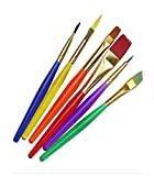 #5: Okayji Crafto Set of 6 Different Sizes Synthetic Flat Paint Brush for Oil, Nail Brush Art, Artist Acrylic Painting