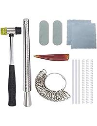 Juego de mandril de tamaño de anillo de Nipika para bisutería, incluye martillo de goma de joyería, medidor de dedo,…