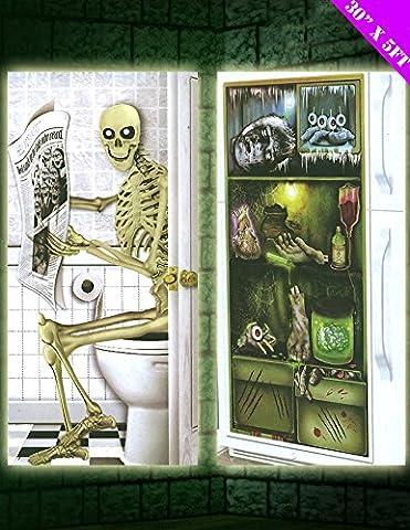 2x Ghostly Door Covers - Skeleton on the Toilet & Mouldy Spooky Fridge - Fits on your doors for great HALLOWEEN DOOR SCENE