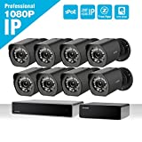 Zmodo 8-channel 1080p HDMI NVR sPoE surveillance system, 4x1080p bullet surveillance cameras for indoor / outdoor use, IP65 waterproof, night vision, motion detector, 2TB HDD