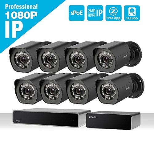 Zmodo-8-canal-HDMI-NVR-1080P-HD-8-exterior-Cmara-de-seguridad-de-red-IP-Juego-con-SPOE-de-repetidor-2TB-Disco-Duro