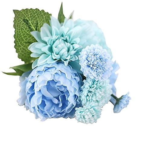 Kolylong Artificial Flowers, Peony Silk Flower Bridal Hydrangea Home Wedding Garden Decor (Blue)