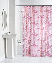 Yellow Weaves PVC Printed Shower Curtain 54X84 Inches- 8 Hooks