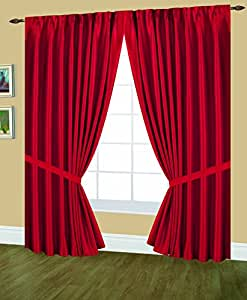 Editex Home Textiles Elaine Lined Pinch Pleated Window Curtain, 48 by 63-Inch, Red