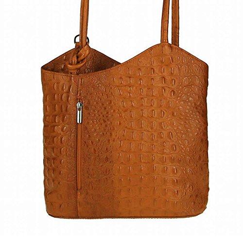 OBC Made in Italy Ledertasche Damentasche 2in1 Handtasche Rucksack Umhängetasche Schultertasche Tablet/Ipad mini bis ca. 10-12 Zoll 27x29x8 cm (BxHxT) (Rot (Strauß)) Cognac (Kroko)
