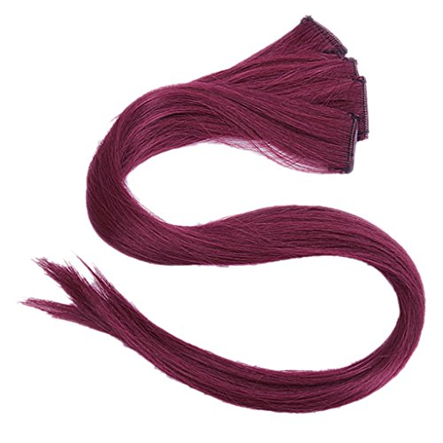 Imported 5 Pcs Colored Clip-on In Hair Extensions Straight Wigs Hairpieces 23.6 Inch Long - Claret