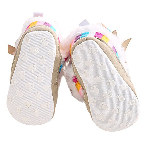 WAYLONGPLUS Baby-Mädchen Mehrfarben Regenbogen Baumwoll Strick weiche Sohle Anti-Rutsch Prewalker Kleinkind Schnee Stiefel Mehrfarben