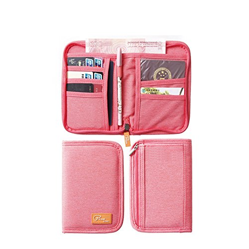 Reisepasshüllen Mappe Reise-Dokumente Tasche Reisepass Kreditkarten-Halter Damen und Herren mit Reißverschluss Geldbörse Etui Ticket Short Red
