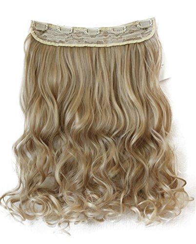 PRETTYSHOP 70cm oder 55cm Clip In Extensions Halbperücke Haarverlängerung Haarverdichtung Haarteil hitzebeständig wie Echthaar div. Farben (55cm blondmix #25T613 C54-1)
