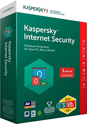 Kaspersky Internet Security Latest version - 3 Users, 1 Year (3 CDs inside with Individual keys) (Chance to win Rs.1000 Amazon Gift voucher)
