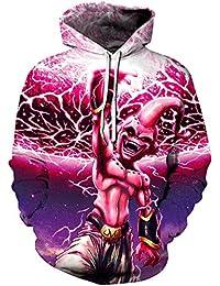 AMOMA Sudadera con capucha para hombre, diseño realista de anime, unisex, Dragon Ball Naruto Bleach 3D, impresión digital