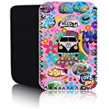 Biz-E-Bee Exclusive 'PINK RETRO CAMPERVAN' [IPD] Protective Neoprene Pouch for SAMSUNG GALAXY TAB A 9.7 10 inch Tablet - Shock & Water Resistant Cover, Case, Pouch, Slip - Fast Ship UK
