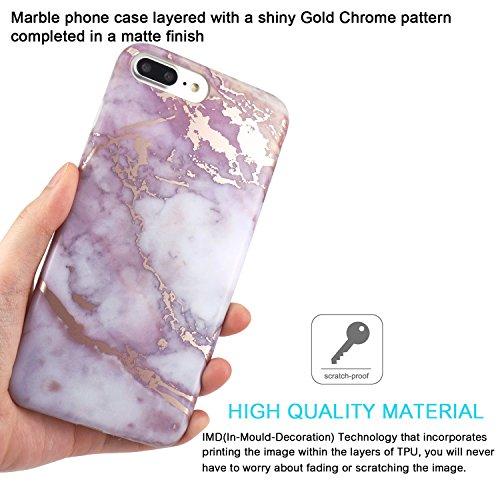 Coque iPhone 7 Plus, Coque iPhone 8 Plus, JIAXIUFEN Silicone TPU Étui Housse Souple Antichoc Protecteur Cover Case - Rose Bleu Marbre Désign Shiny Rose Gold Purple