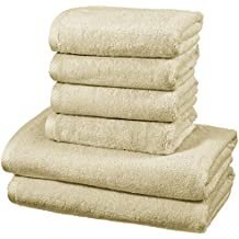 AmazonBasics - Juego de 6 toallas de secado rápido, 2 toallas de baño y 4 toallas de mano - Beige