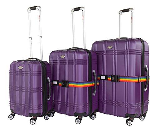 3-tlg. Kofferset inkl. 2 Koffergurte, ABS Hartschale, erweiterbares Volumen, Alu-Teleskopgriff, 4 Zwillingsrollen