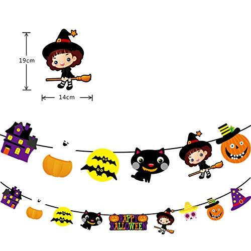 elegantstunning Halloween Papier Girlande Kürbis Vampir Katze Puppe Hängendes Banner Wimpelkette Party Dekoration Requisiten Katze (Kostüm Für Papier Puppen)