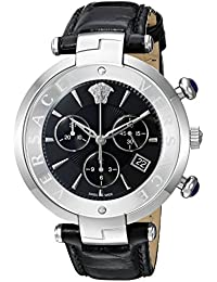 Versace Men's 'Rêvive Chrono' Swiss Quartz Stainless Steel and Leather Casual Watch, Color:Black (Model: VAJ010016)