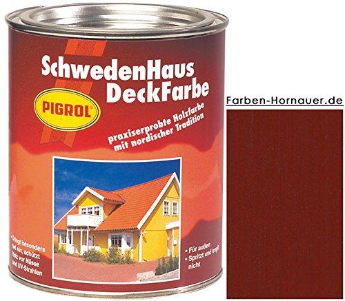 Pigrol Schwedenhaus-Deckfarbe, schwedenrot, 2,5L Wetterschutzfarbe Holzfarbe für aussen