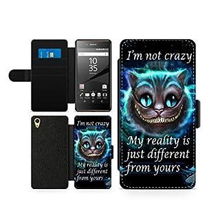 Alice in Wonderland Im not crazy Katze Leder Brief Tasche Kartenhalter Kunstleder Flip Handy Schutz Hülle Etui Schale Für Sony Xperia Z5