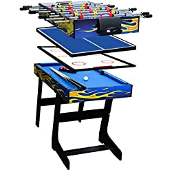 AIPINQI Table de jeu multifonction 4 en 1, table de billard, table de football, table de hockey, table de tennis de table, 48in