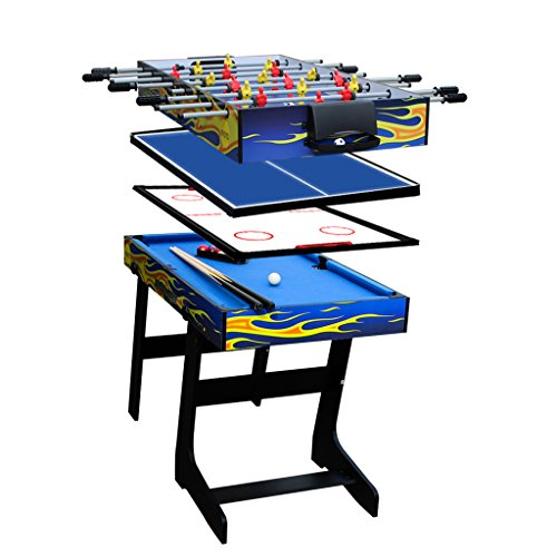 IFOYO Multi-function 4 in 1 Steady Combo Game Table, Hockey Table, Soccer Football Table, Pool Table, Table Tennis Table, Yellow Flame, Pantent Product