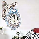 fwerq Euro Horloge murale double face, Creative Mode Paon Lounge, simple Horloge moderne Silence montres à quartz, C